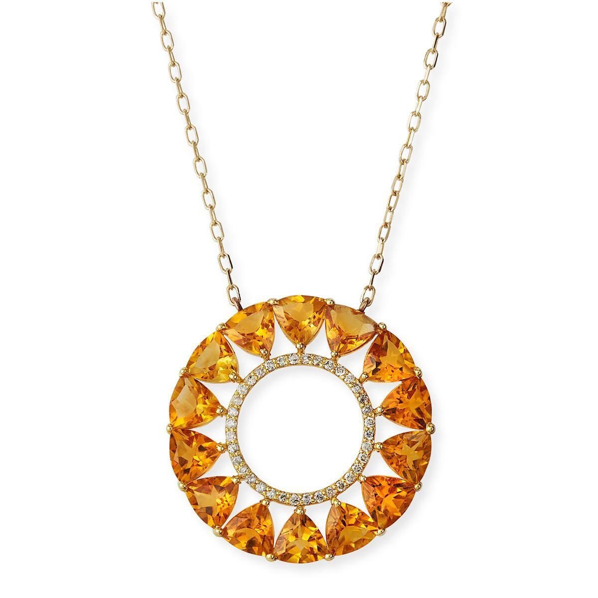 siena jewelry 14k yellow gold citrine and diamond circle necklace