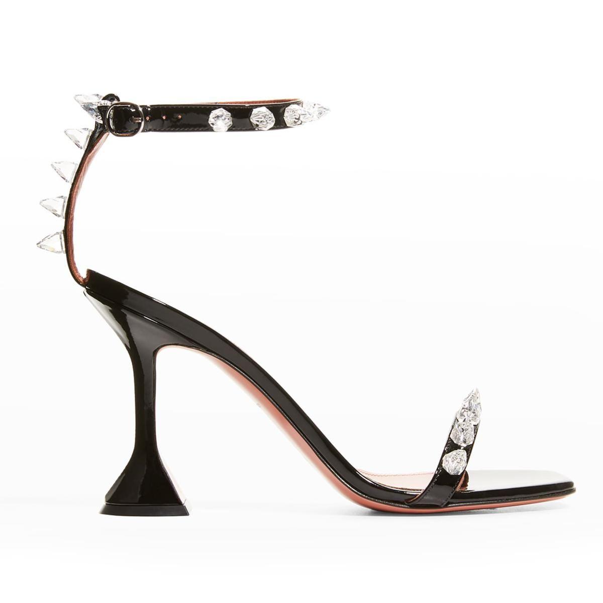 amina muaddi julia spike patent ankle strap high heel sandals