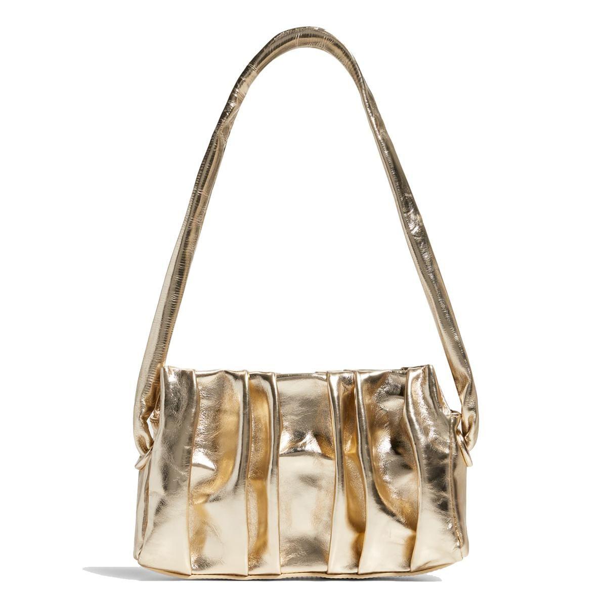 elleme vague pleated metallic shoulder bag