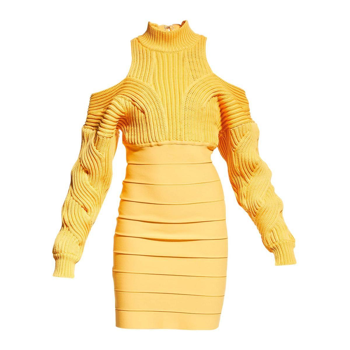 herve leger mixed media cold shoulder mini dress