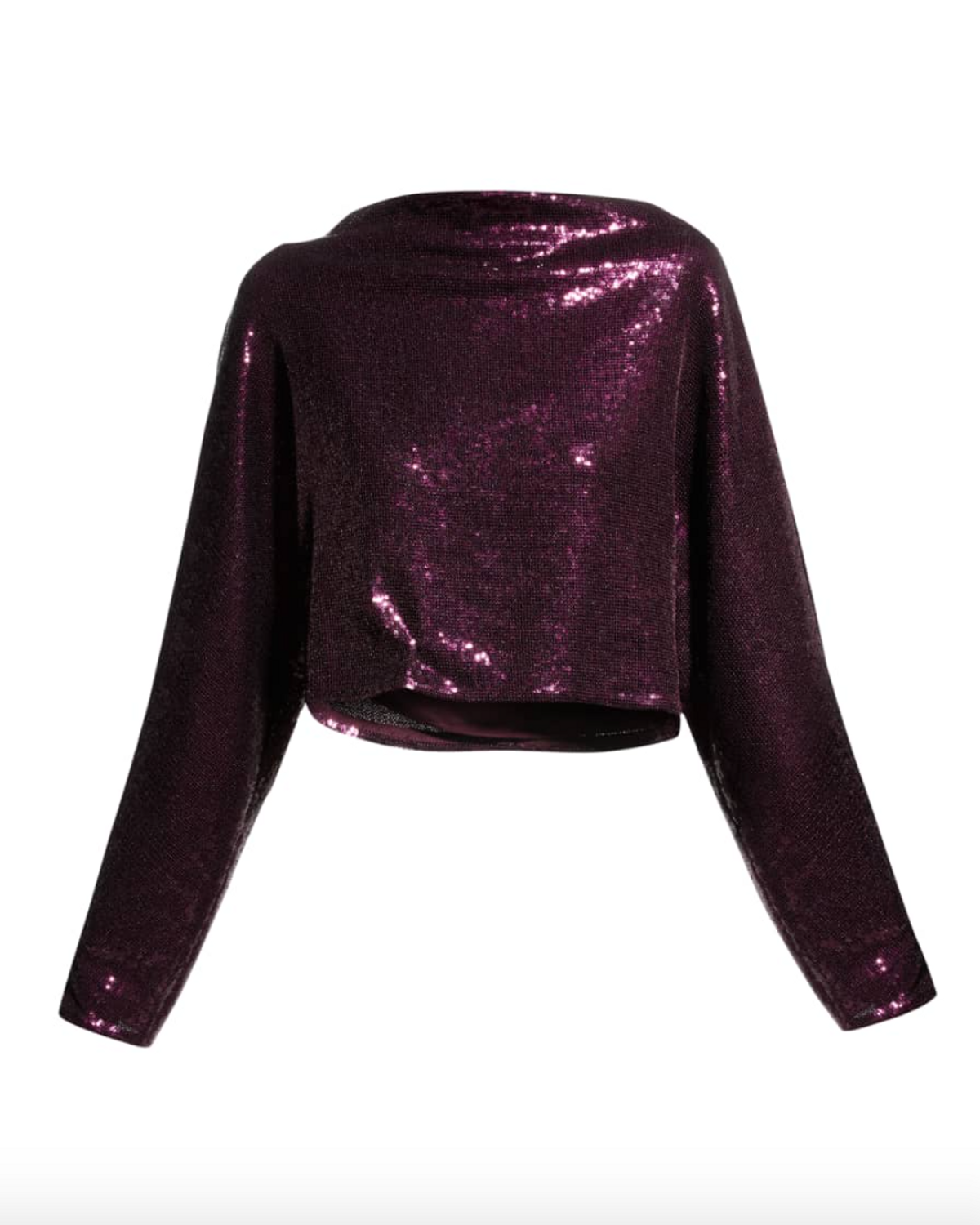 Dolman-Sleeve Sequined Cropped Top