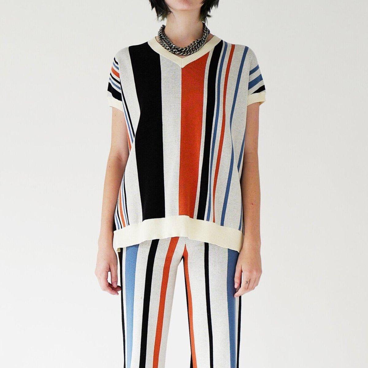 social work stripe oversized vest