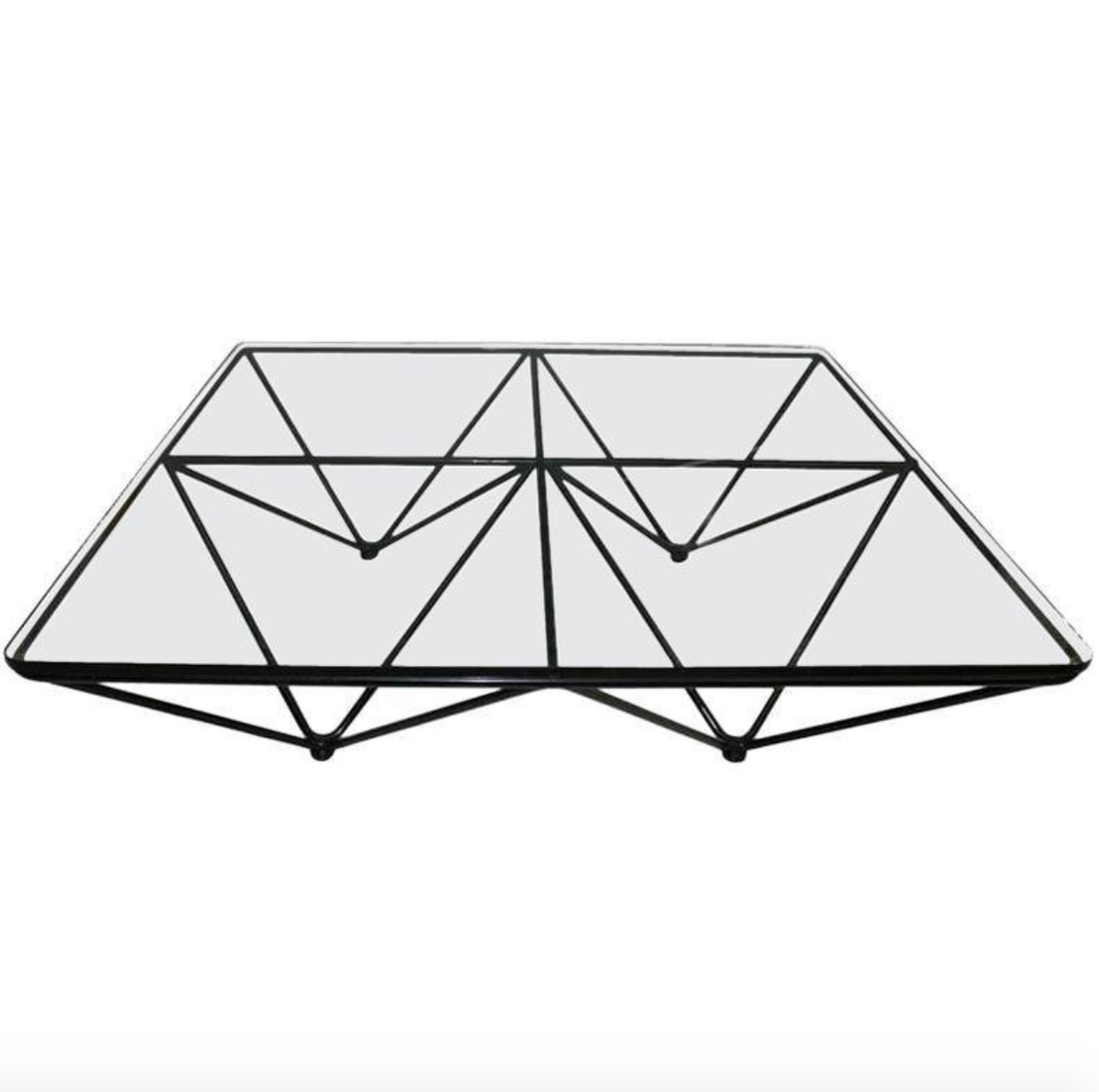 Mid-century Square Black Metal and Glass Coffee Table