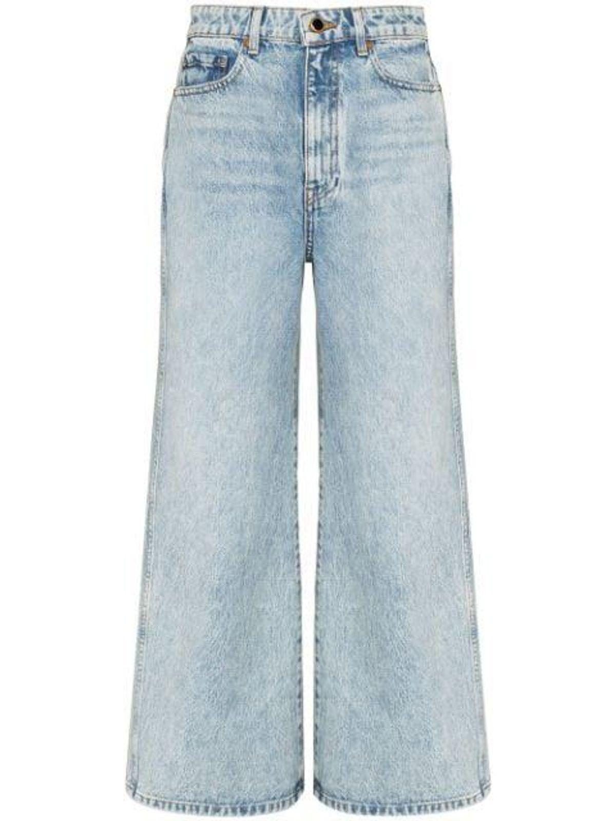 khaite the ella wide leg cropped jeans