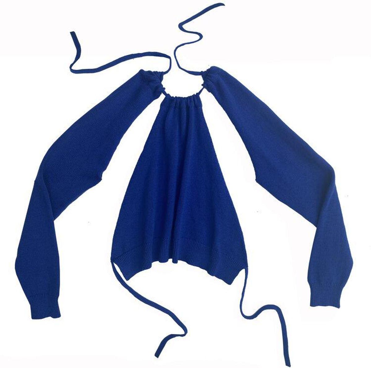 "x Maria Dora ""I Contain Multitudes"" Halter Detachable Sleeve Sweater"