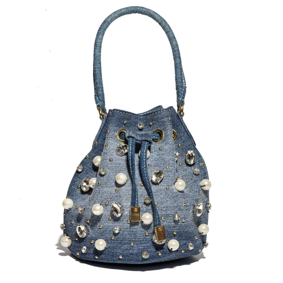 Stone Washed Denim Lucy Embellished Bucket Bag