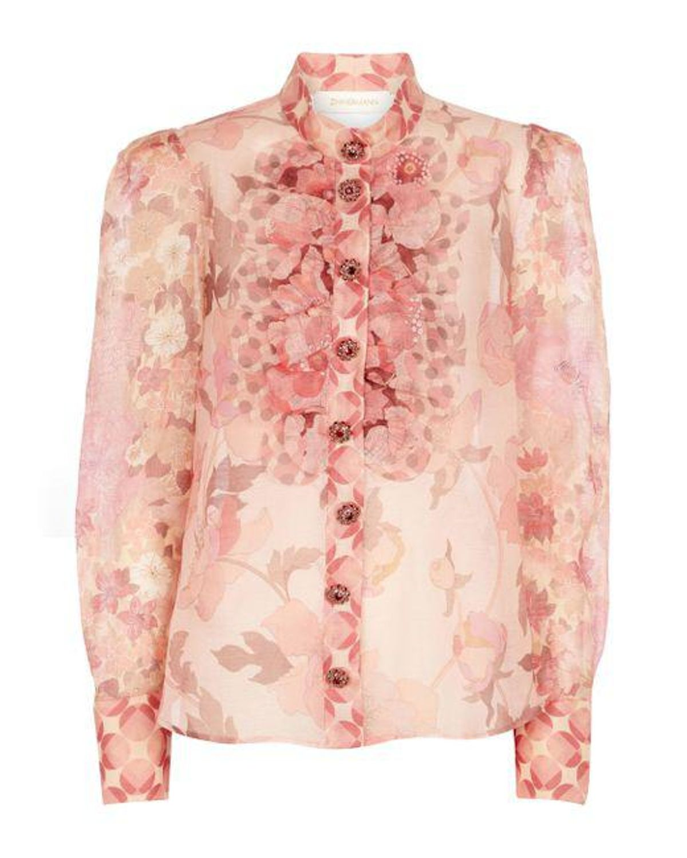 zimmermann concert printed linen and silk blouse