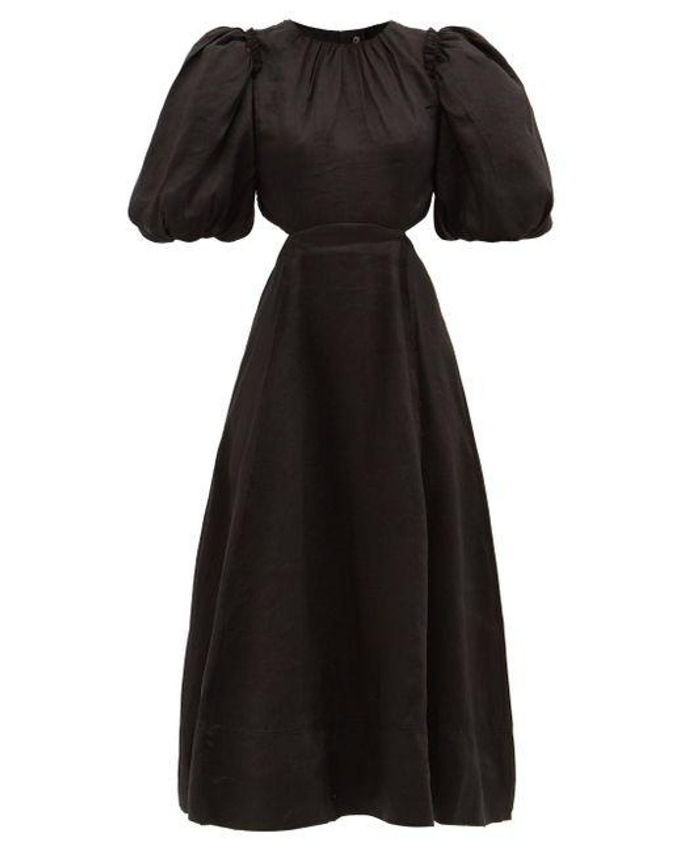 aje relic beaded cutout linen blend midi dress
