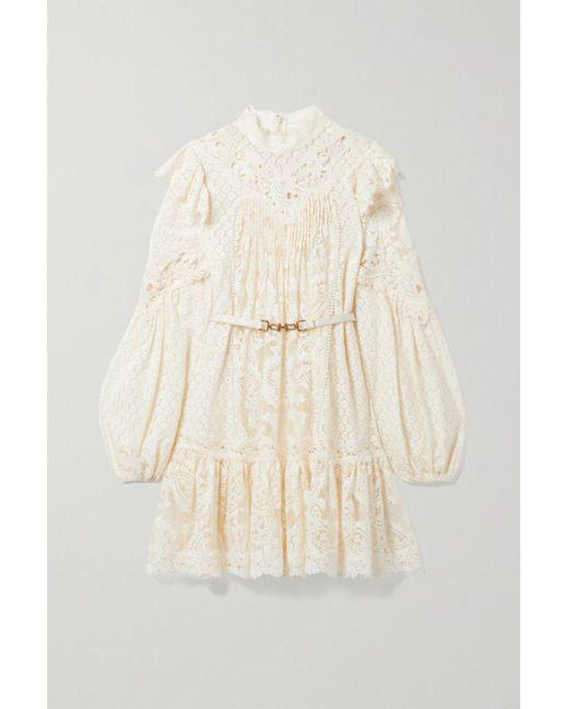zimmermann concert belted cotton blend lace mini dress