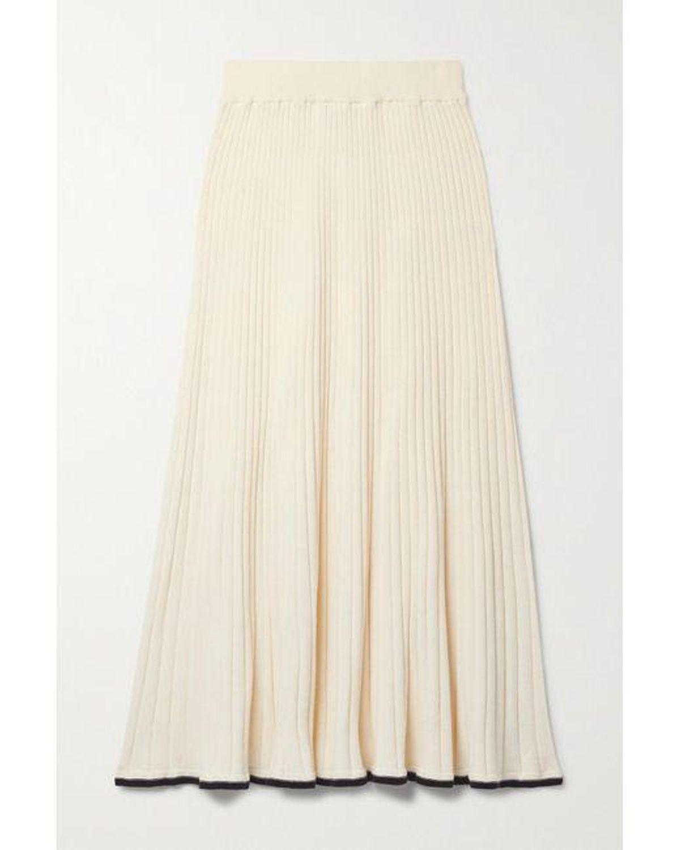 anna quan felicia ribbed cotton midi skirt
