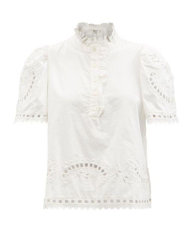 sea santos eyelet lace cotton poplin blouse