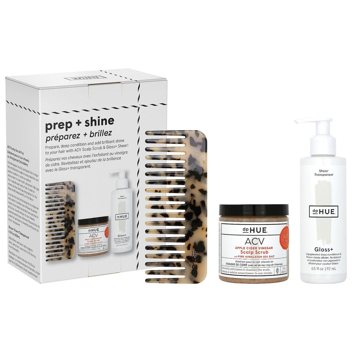 dphue prep and shine kit healthy hair from scalp to ends
