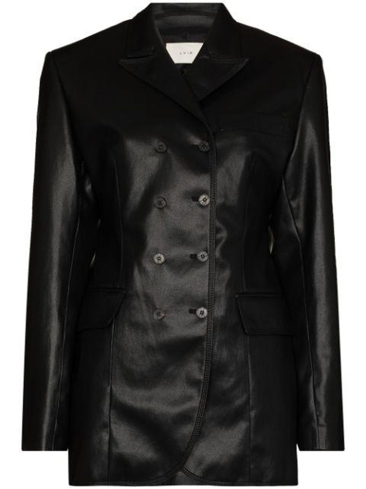 Double-breasted Faux Leather Blazer