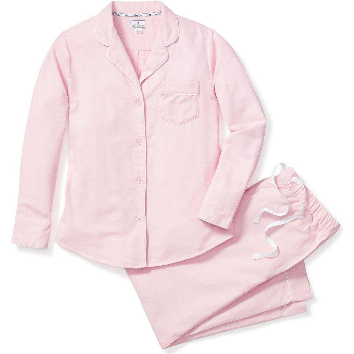 petite plume womens pajama set pink flannel