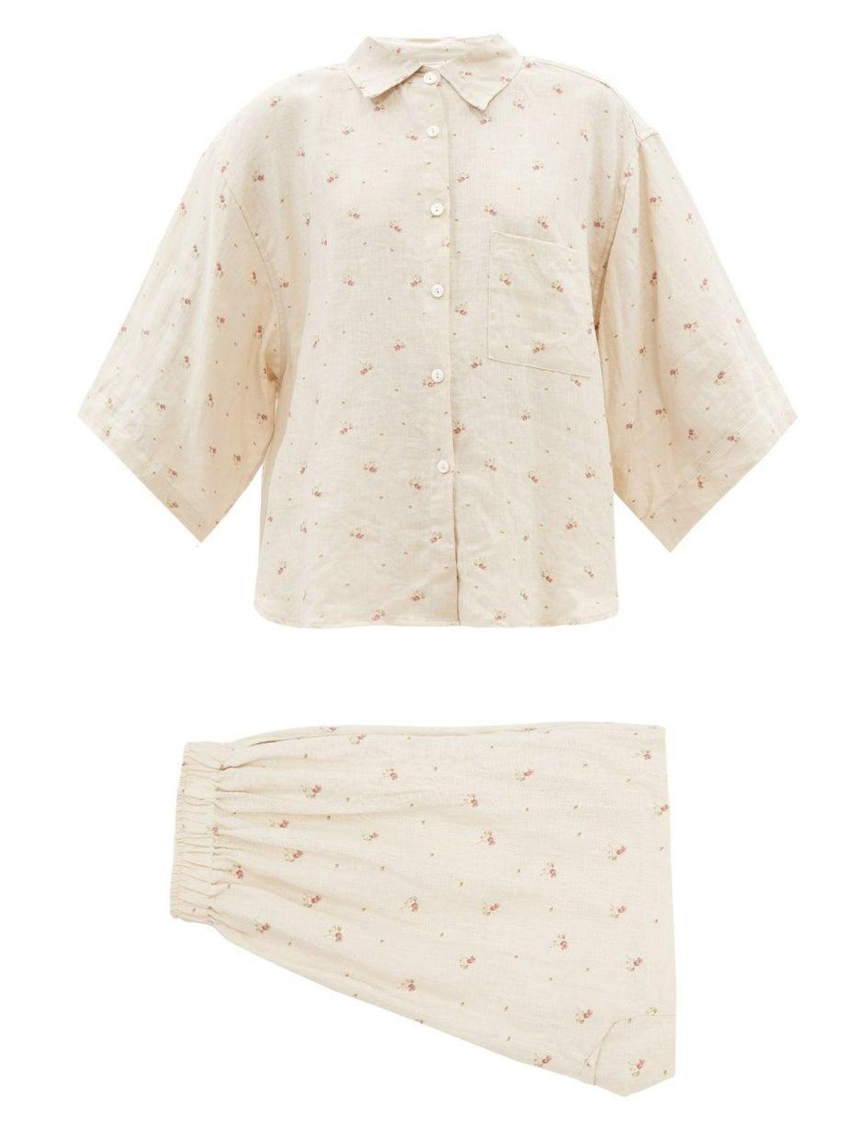 deiji studios 03 floral print stonewashed linen pyjamas