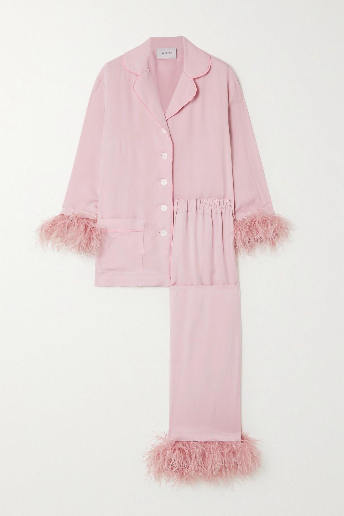 sleeper feather trimmed crepe de chine pajama set