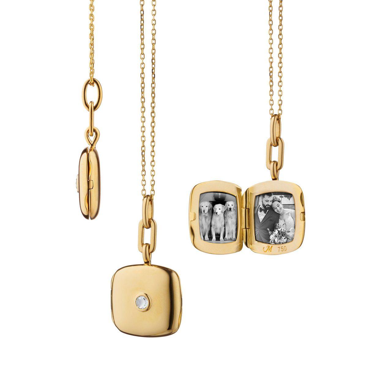 monica rich kosann slim viv gold locket necklace with diamond