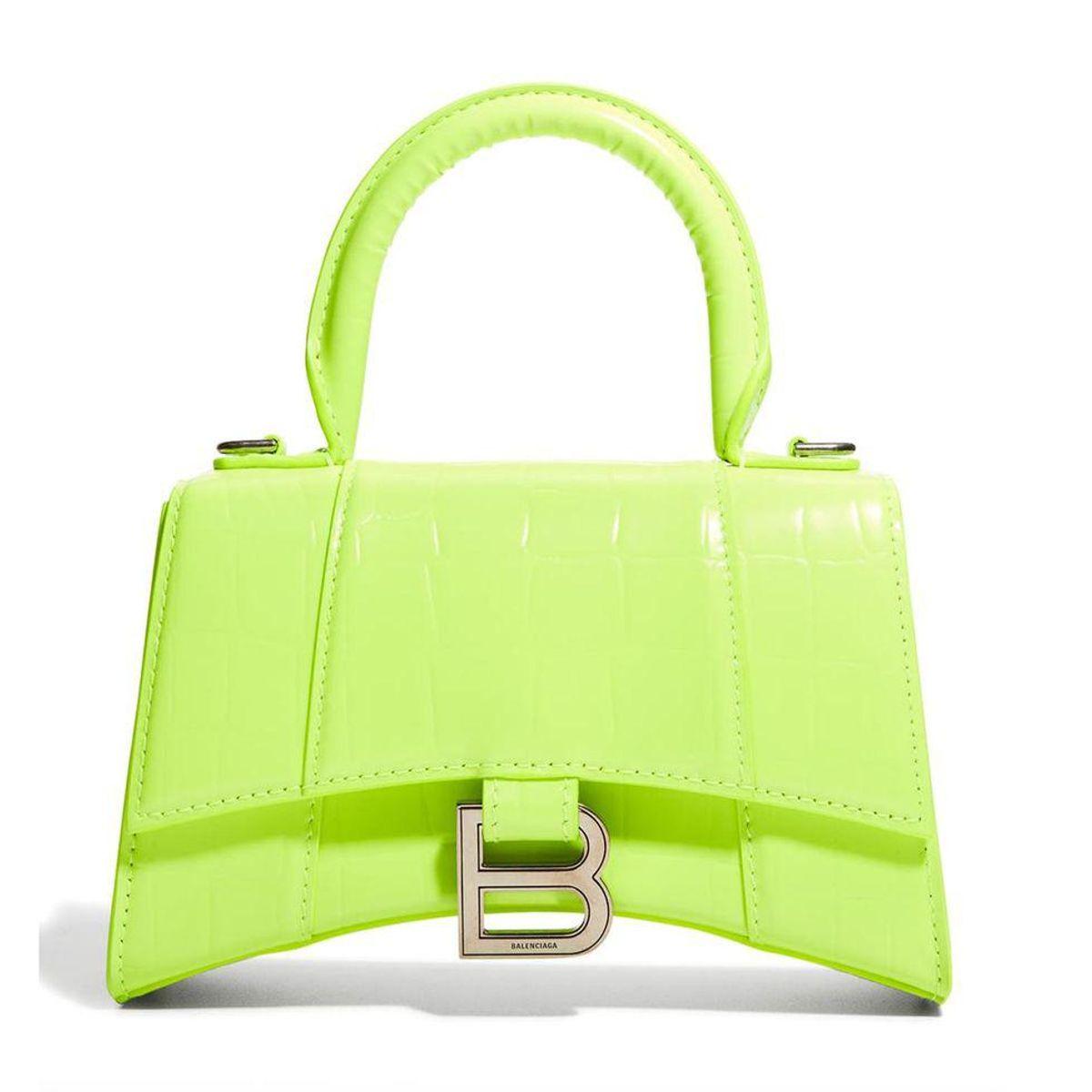 balenciaga hourglass xs croc embossed top handle bag