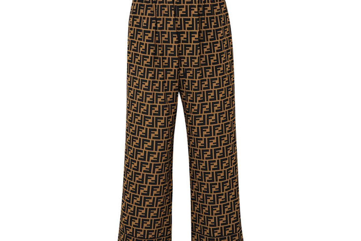 fendi cropped printed silk crepe de chine wide leg pants