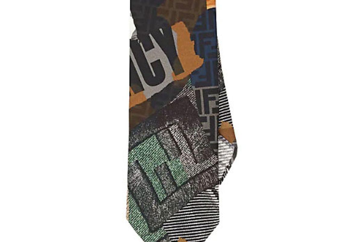 fendi logo collage print silk twill necktie