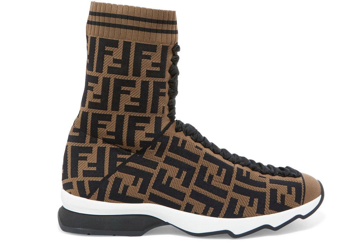 fendi logo jacquard stretch knit and mesh sneakers