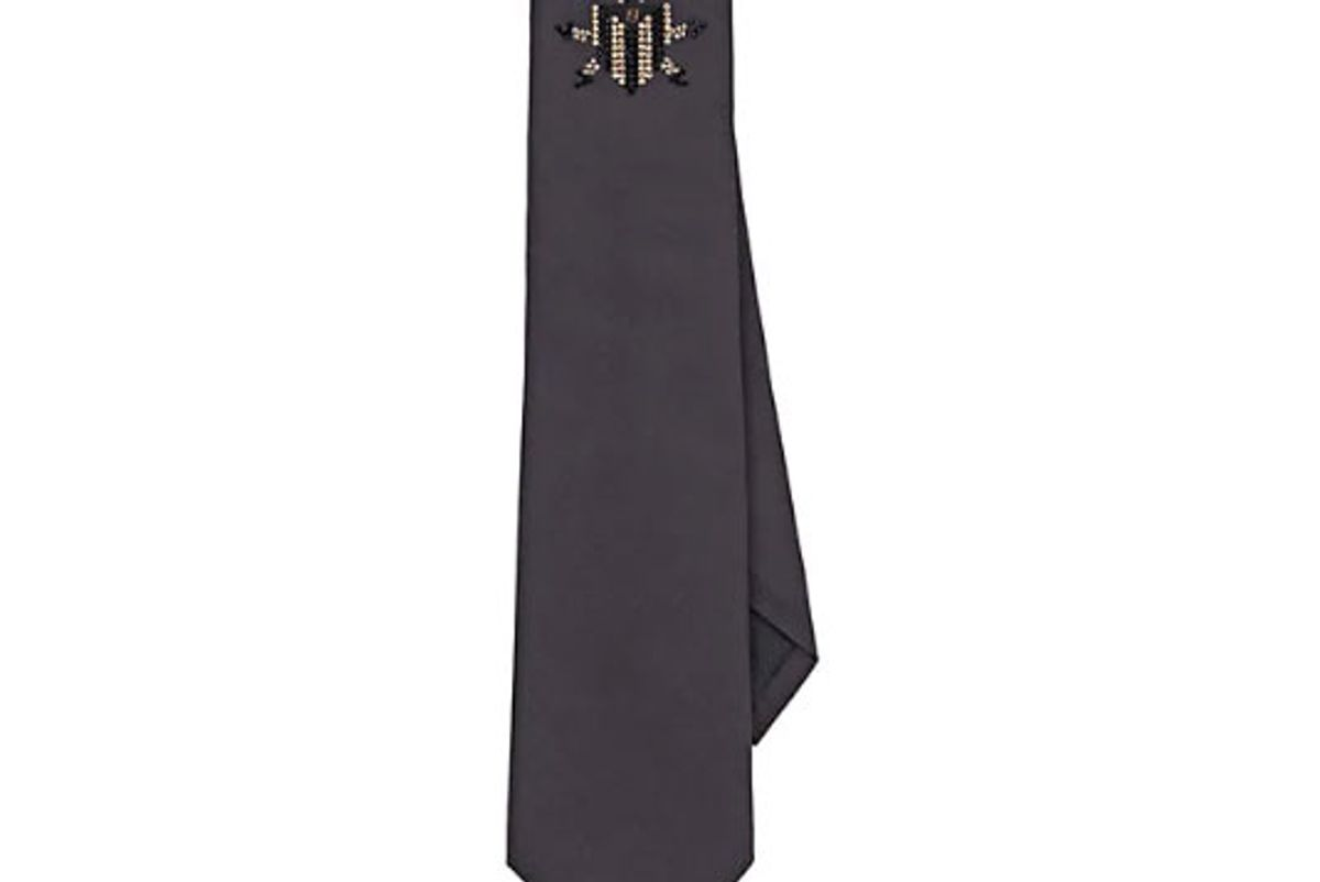 fendi micro crystal embellished silk faille necktie