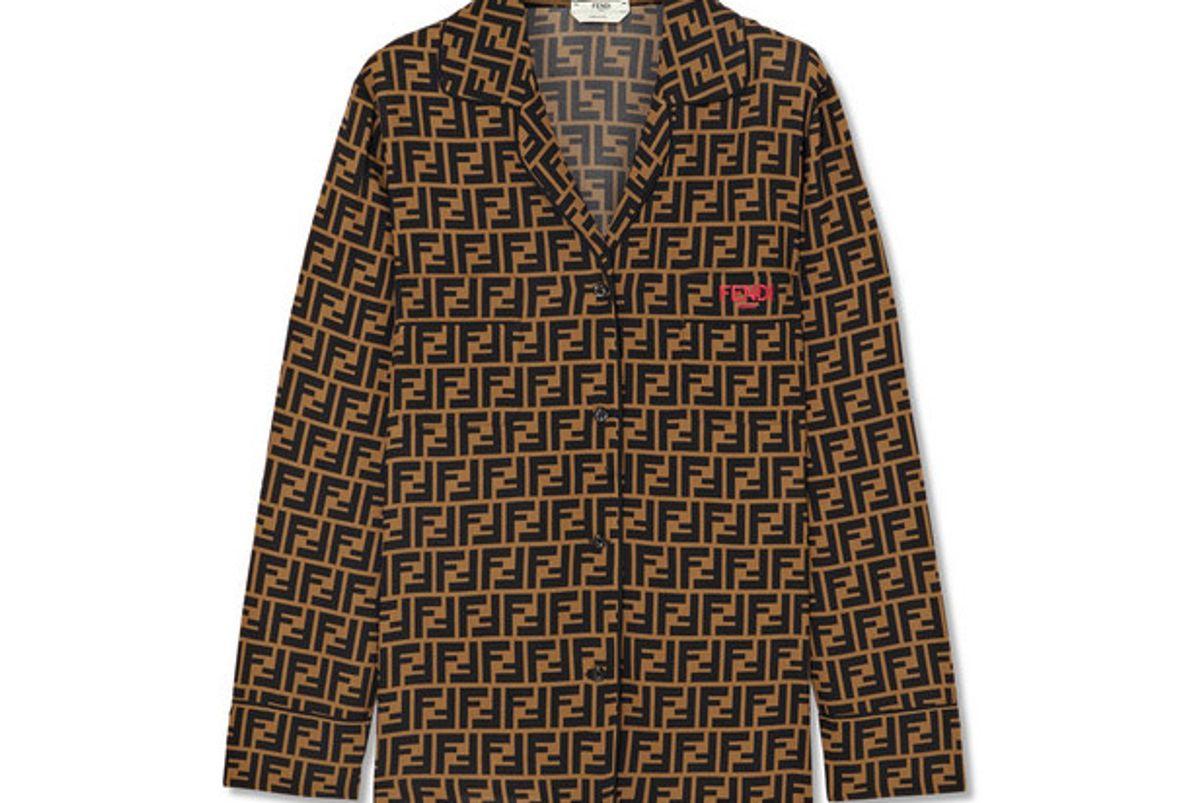 fendi printed silk crepe de chine shirt
