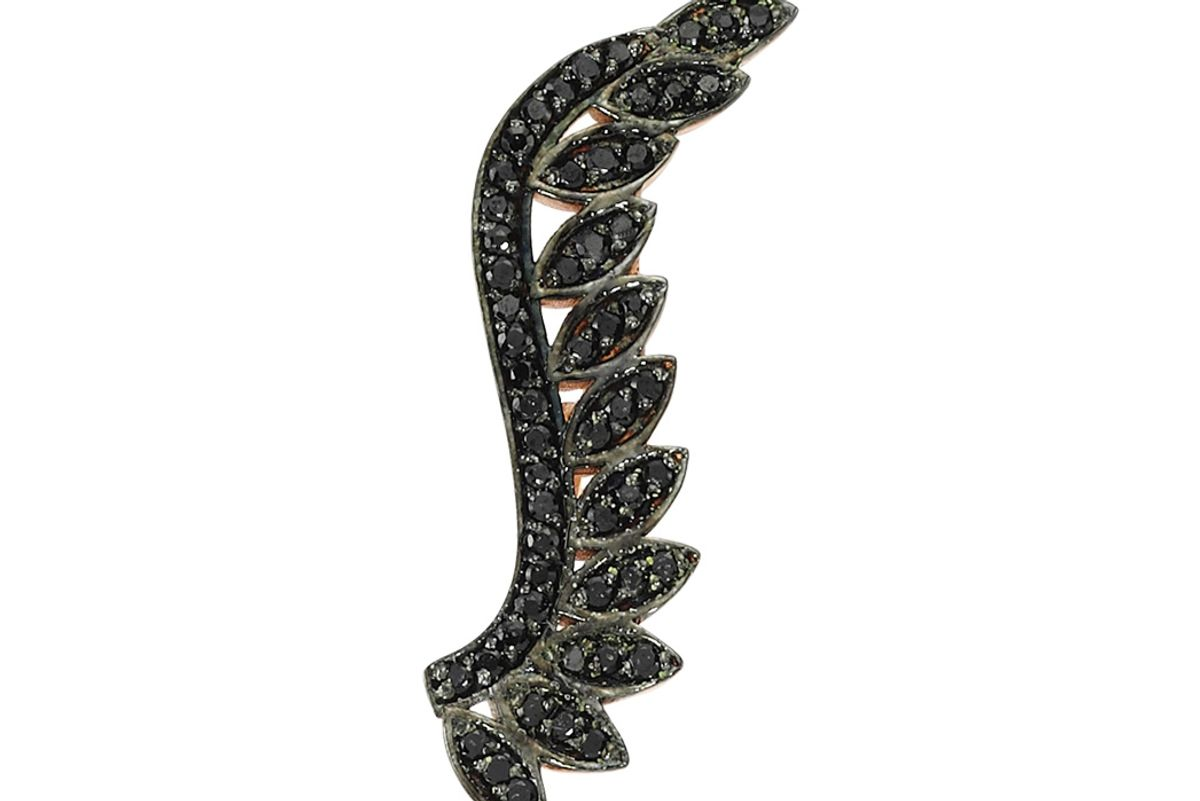 14K Pink Gold Leaf Ear Cuff with Black Diamonds