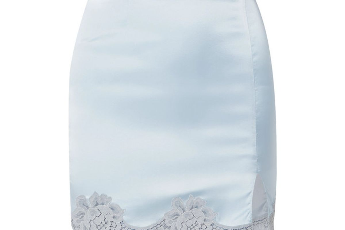 fleur du mal james lace trimmed silk blend satin mini skirt