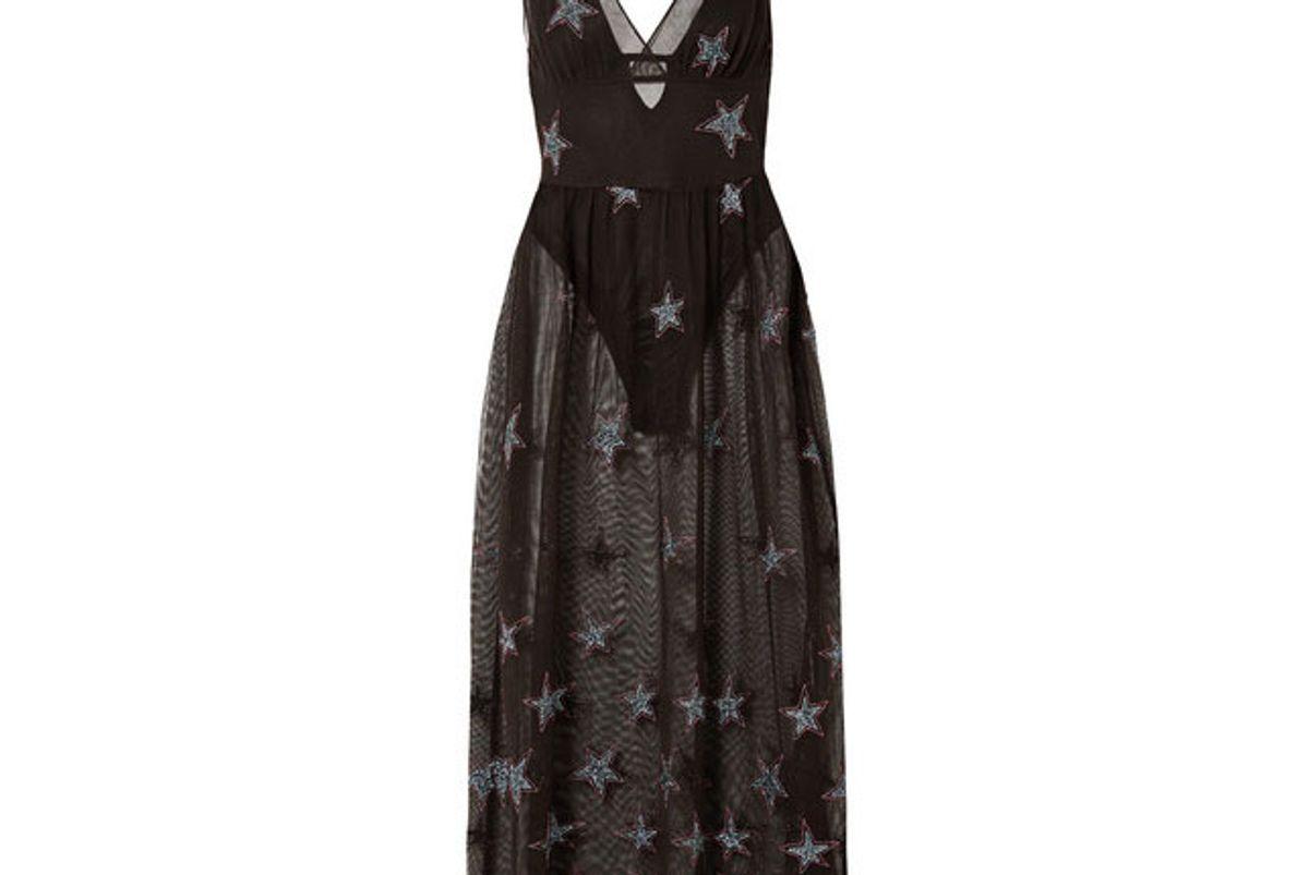 fleur du mal super star fil coupe cotton blend tulle midi dress