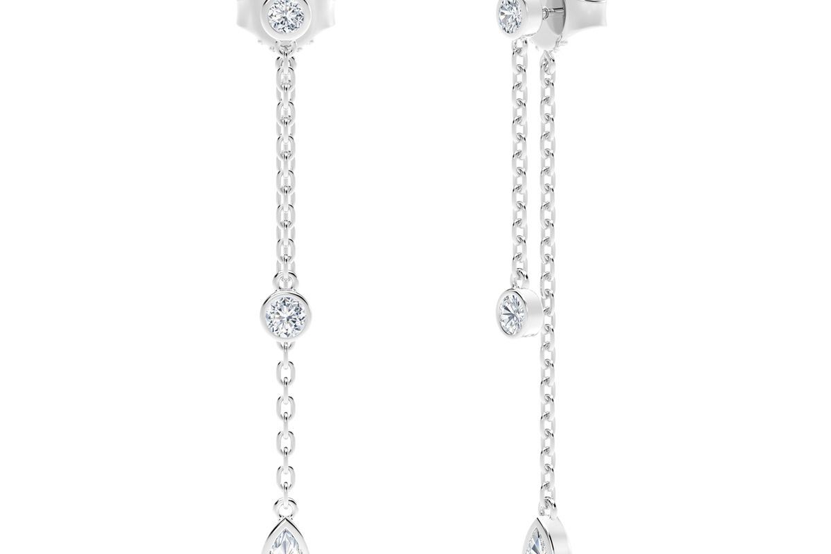 forevermark the tribute collection round and pear diamond drop earrings