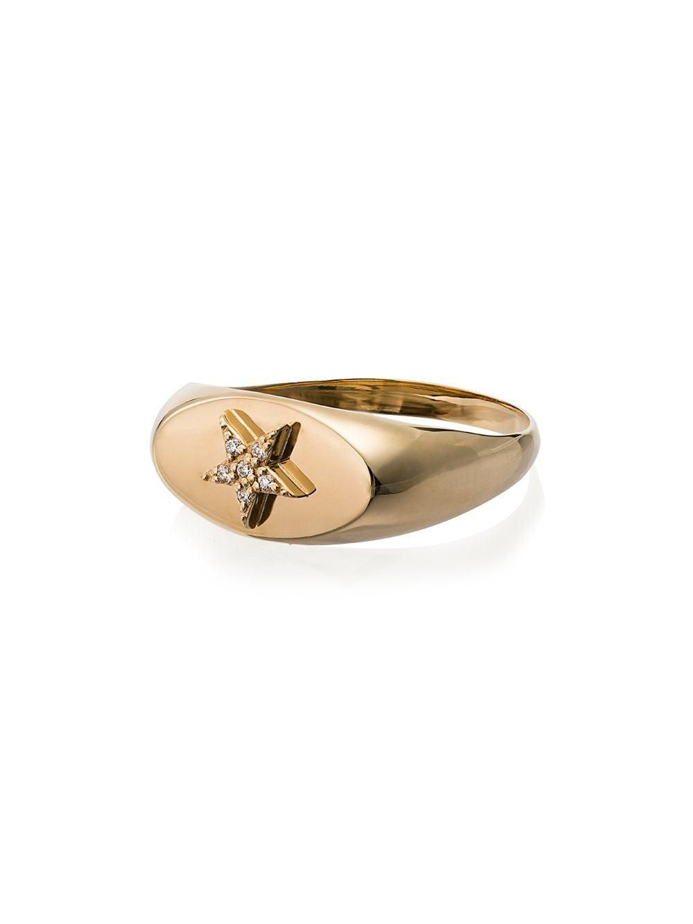 foundare 18kt yellow gold star diamond baby signet ring