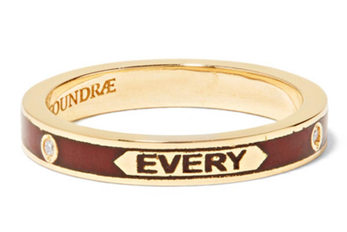 foundrae 18 karat gold enamel diamond ring