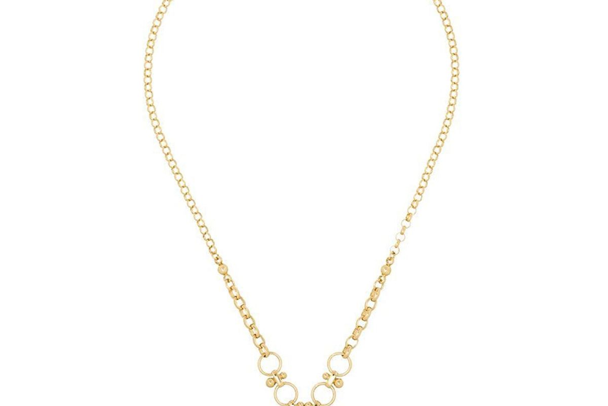 foundrae 18kt gold strength pendant necklace