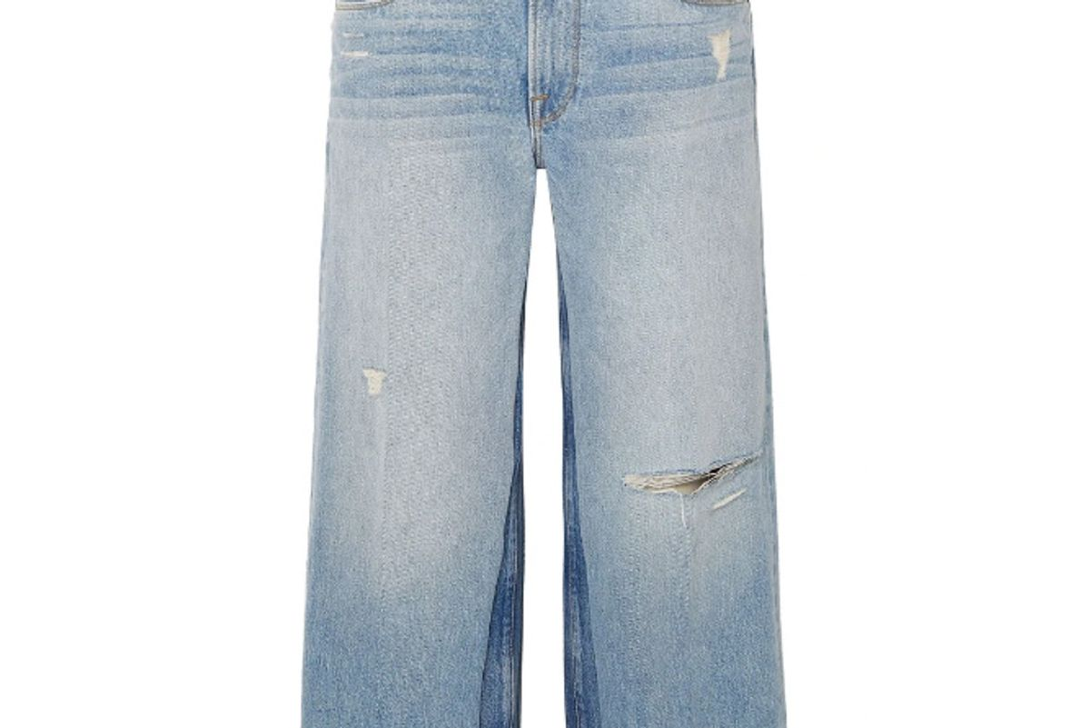 frame cropped distressed faded high rise wide leg jeans