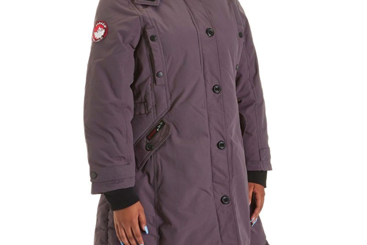 Plus Size Long Winter Parka with Faux Fur Trimmed Hood