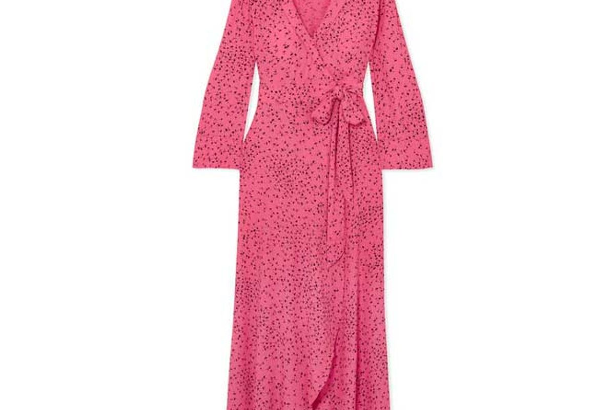 ganni barra printed crepe de chine wrap maxi dress