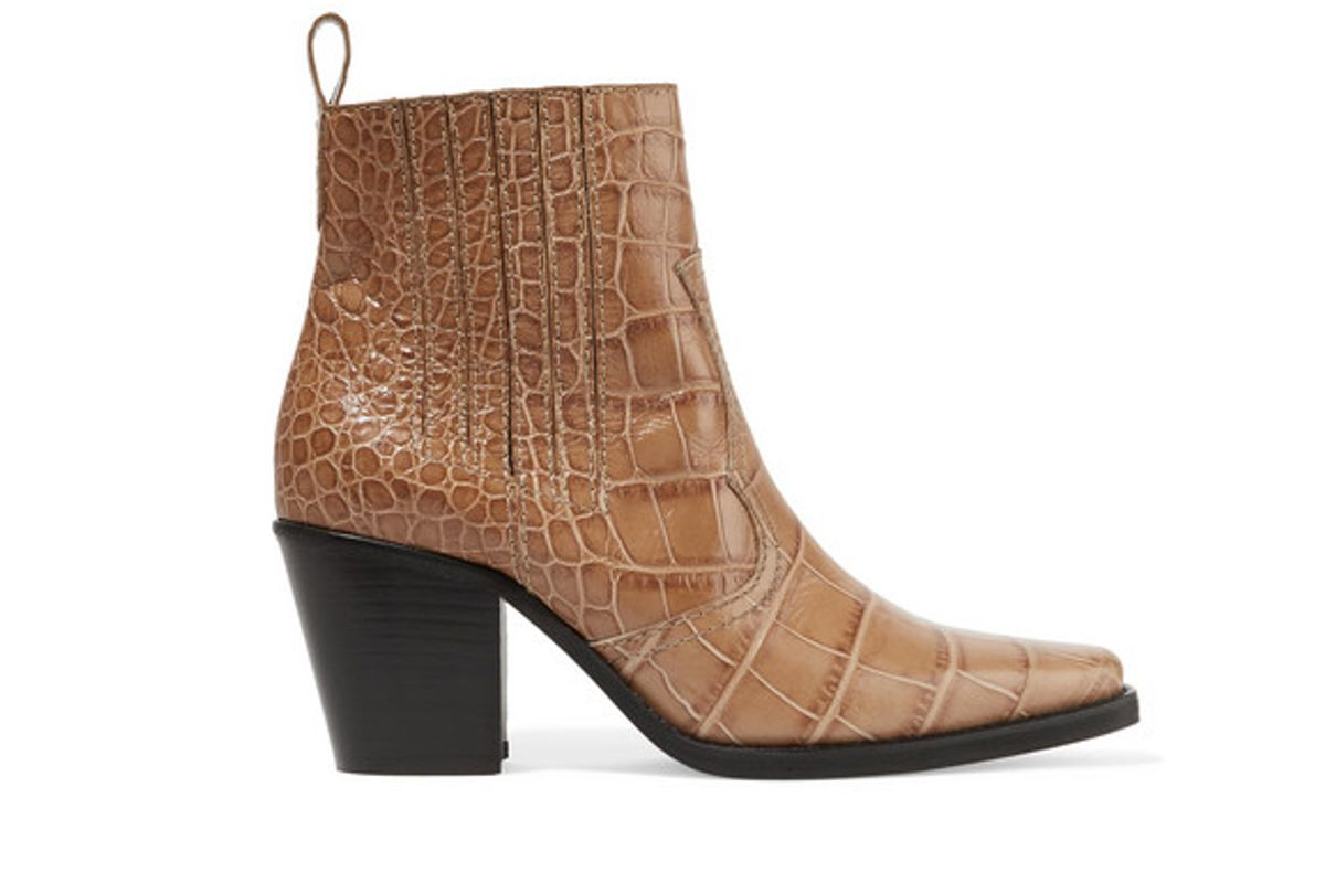 ganni callie croc effect leather ankle boots