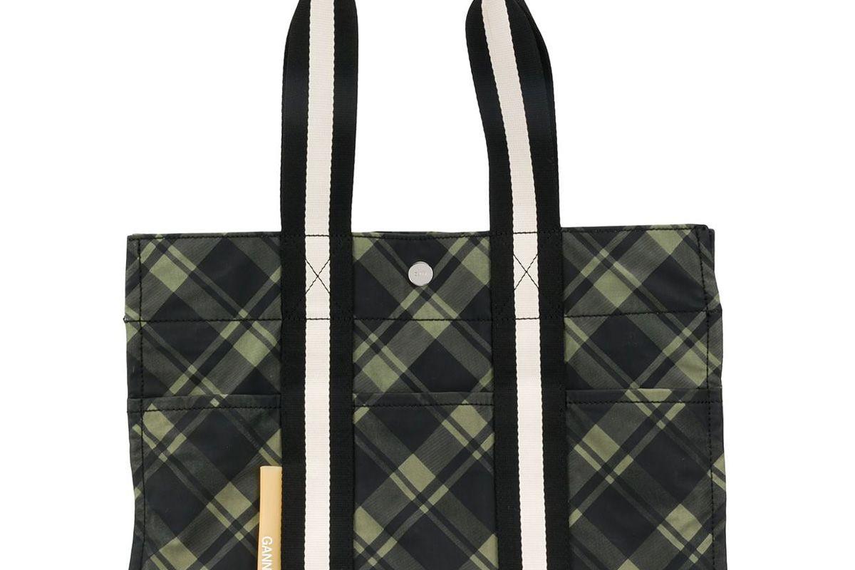 ganni checked tote bag