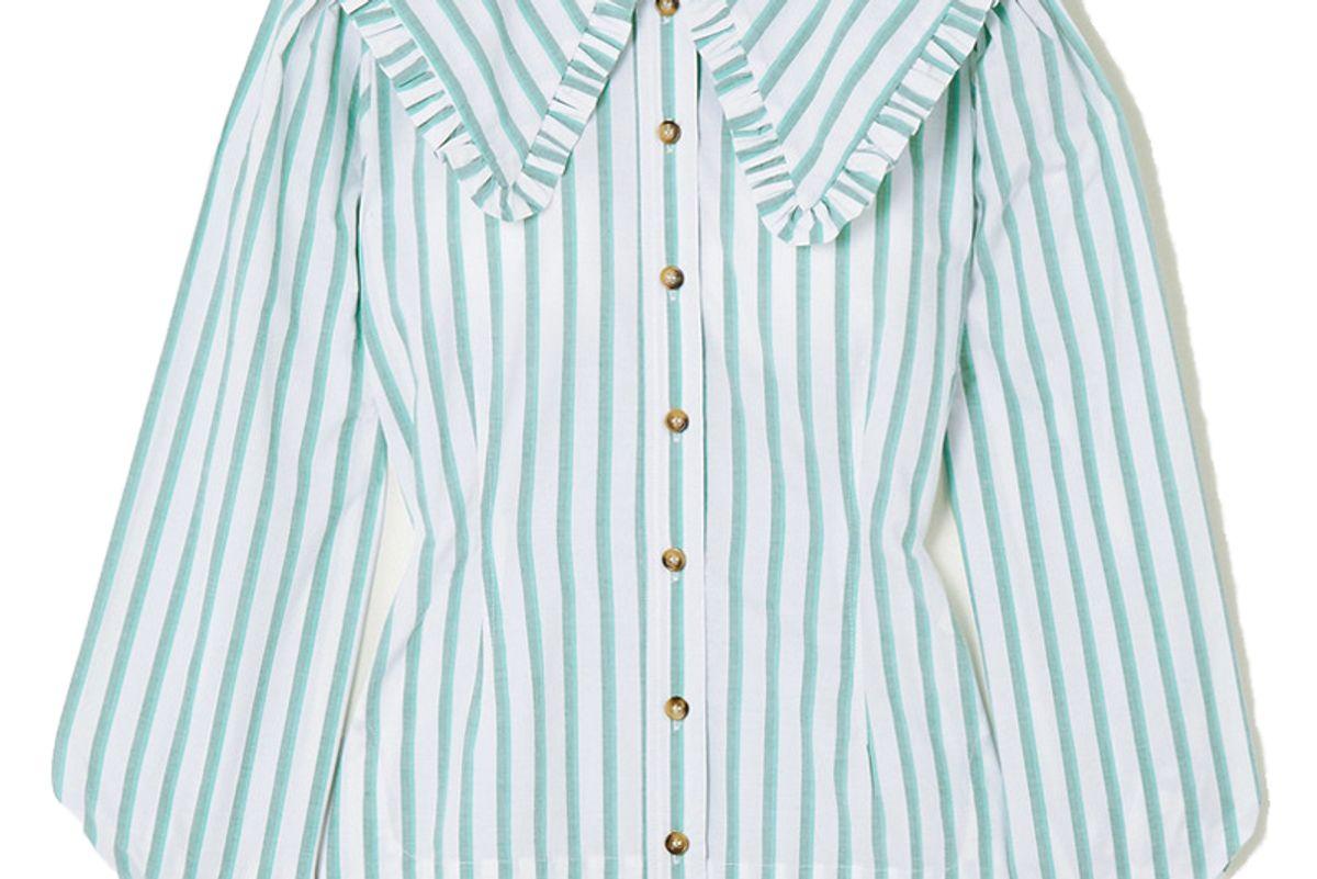 ganni feathery striped cotton poplin blouse