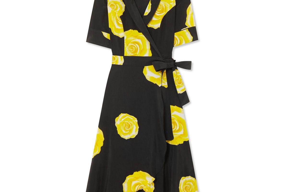 ganni floral print washed silk wrap dress