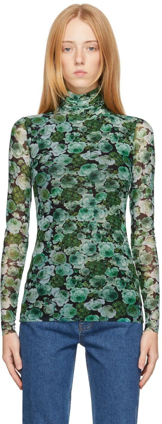ganni green mesh floral turtleneck
