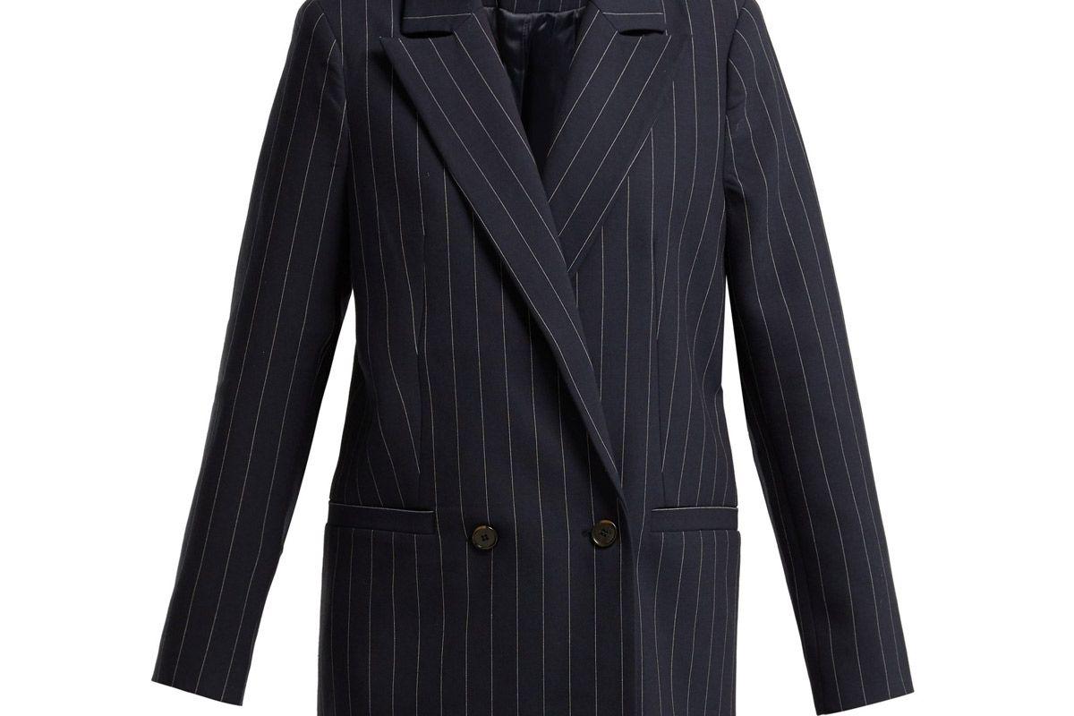 ganni hewitt double breasted pinstripe blazer