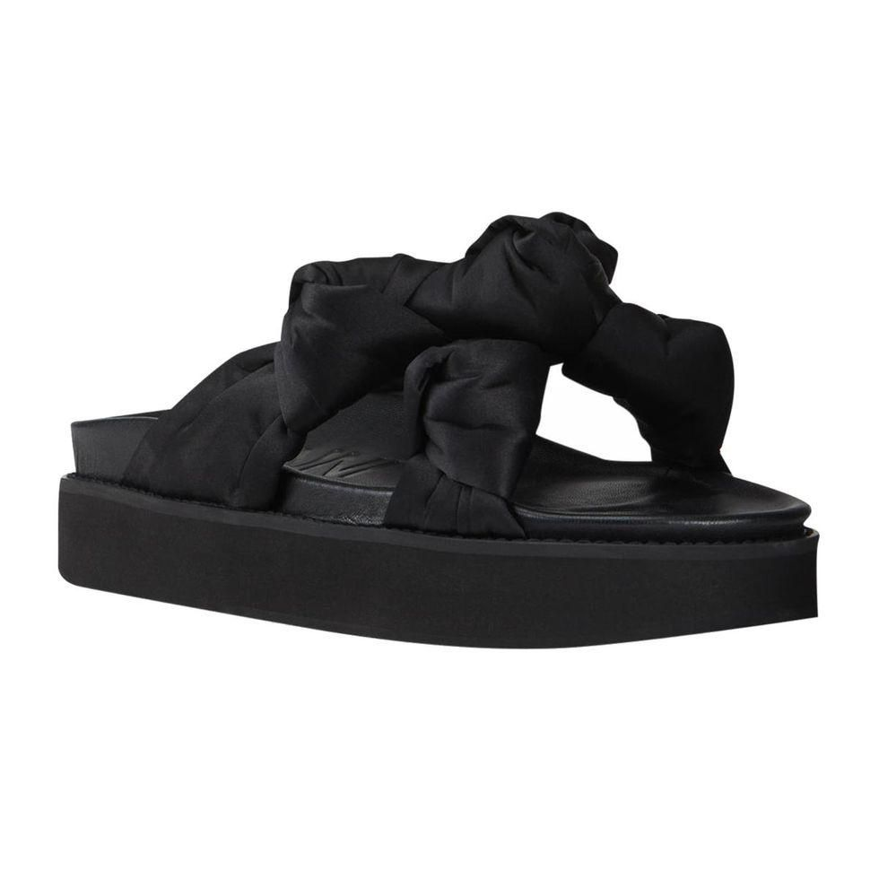 ganni knotted satin sporty sandals