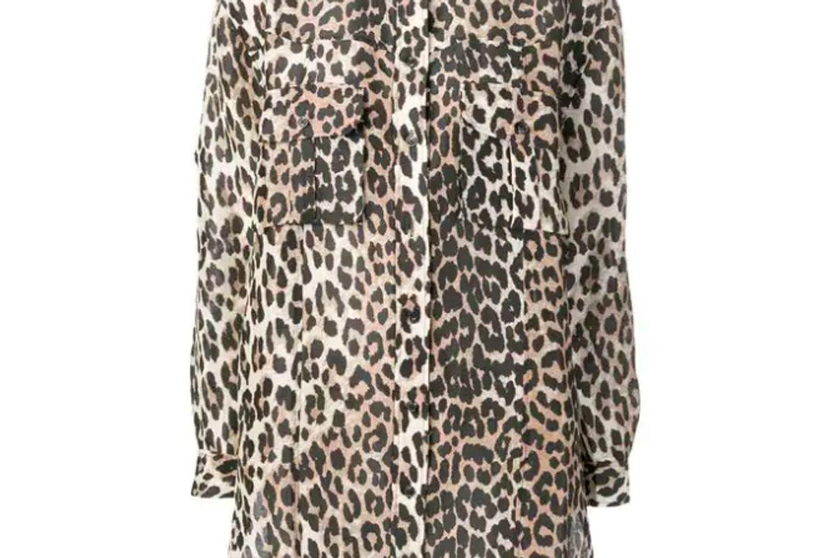 ganni leopard print shirt