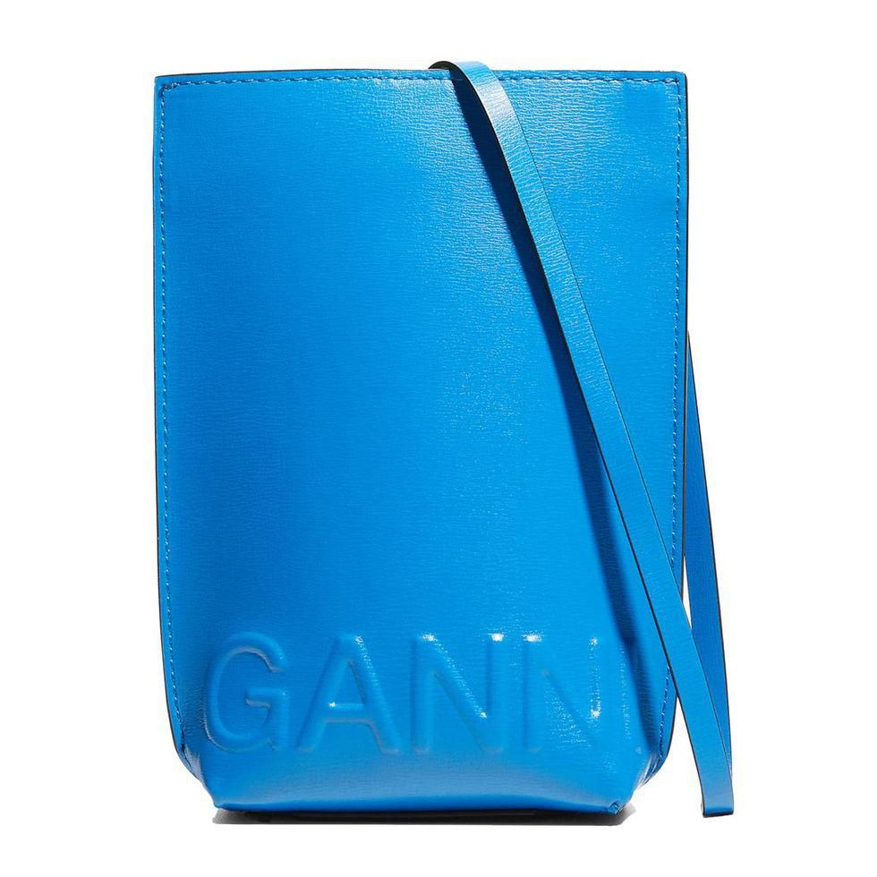 ganni recycled leather crossbody pouch bag