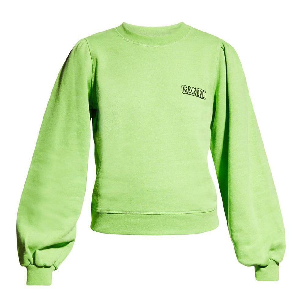 ganni software isoli puff sleeve sweatshirt