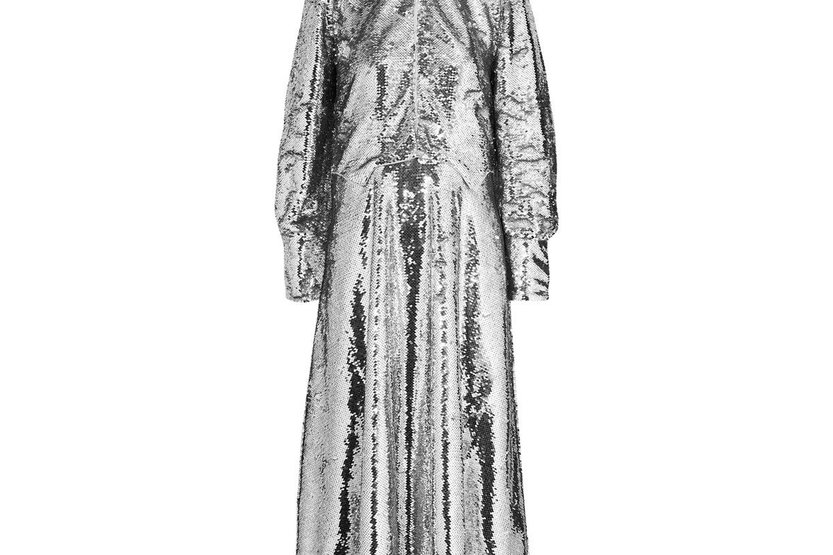 ganni sonora sequined crepe midi dress