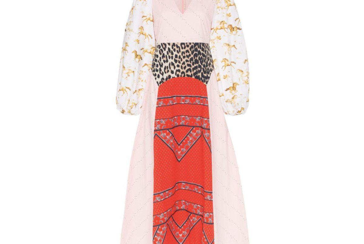 ganni sweeny patchwork cotton dress