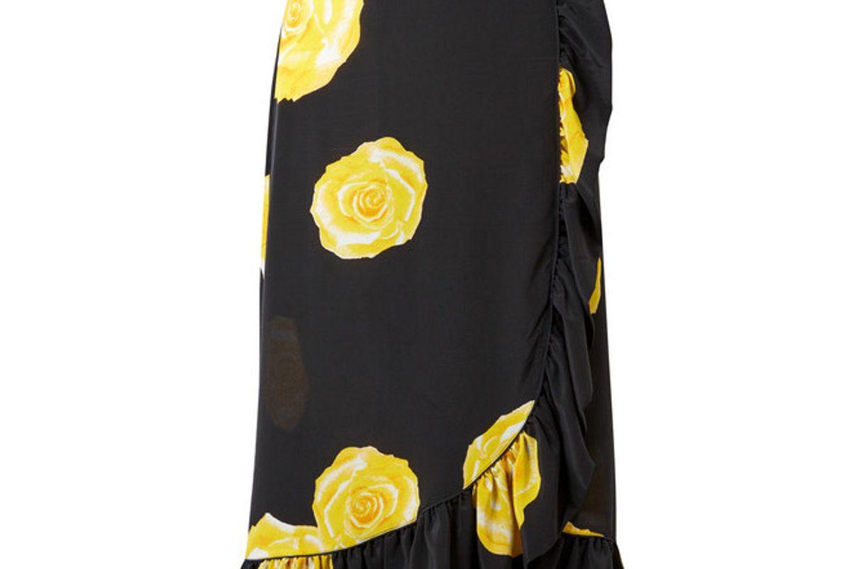 ganni wrap effect floral print washed silk midi skirt